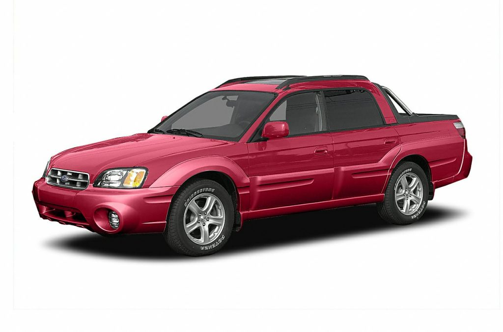 A red Subaru Baja with a white background