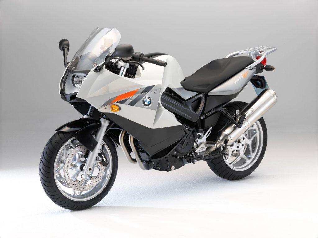 A silver-with-gray-and-orange stripes 2010 BMW F 800 ST sport-touring bike