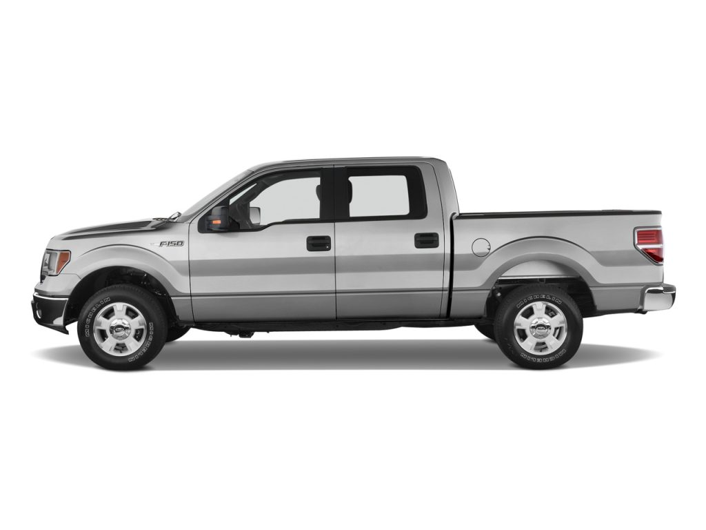 A gray 2010 Ford F-150 with a transparent background