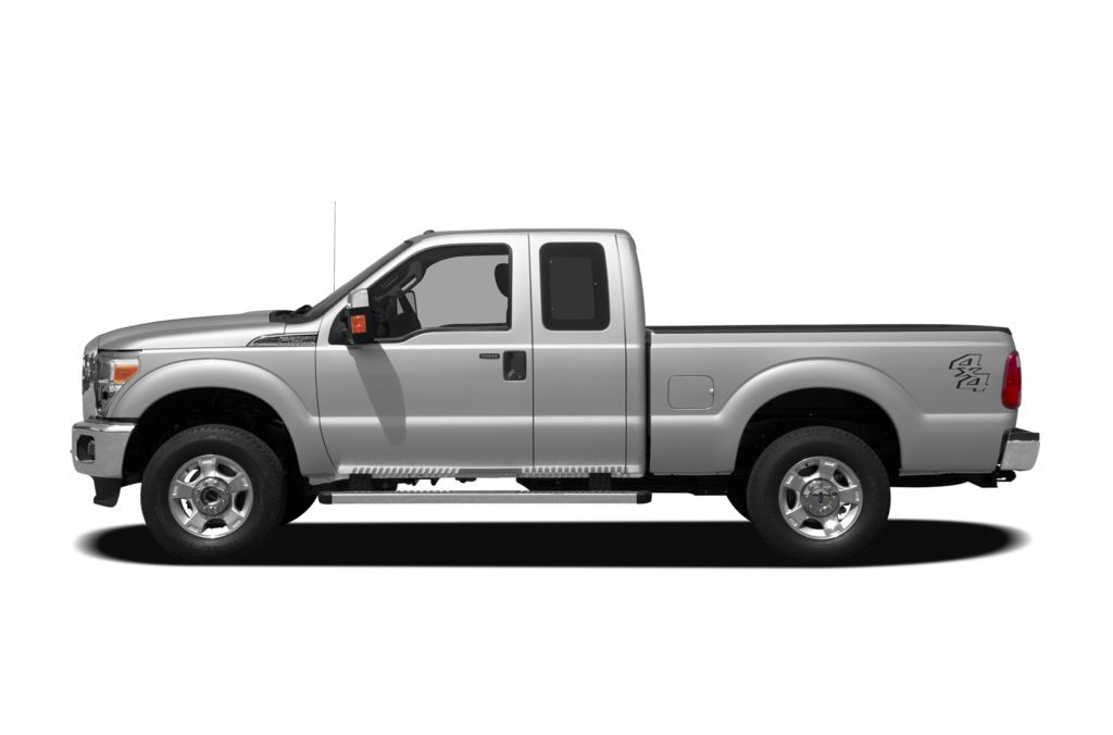 A white 2011 Ford F-250 Super Duty viewed from the side
