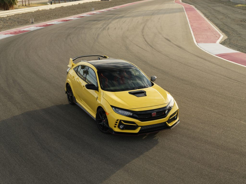 2021 Honda Civic Type R Limited Edition in Phoenix Yellow on a race track