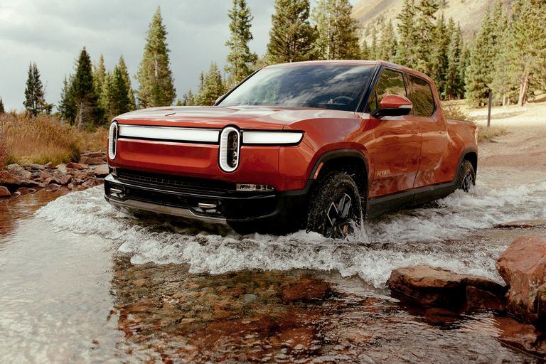 The 2022 Rivian R1T fording water