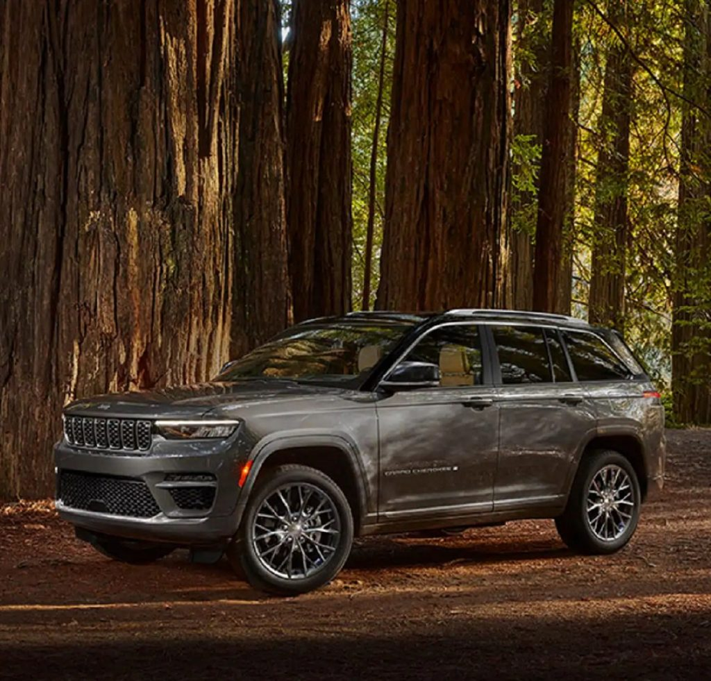A gray 2022 Jeep Grand Cherokee parked in the woods.