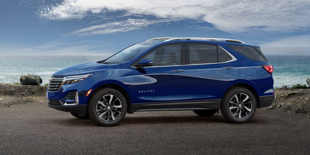 A blue 2022 Chevrolet Equinox parked outside