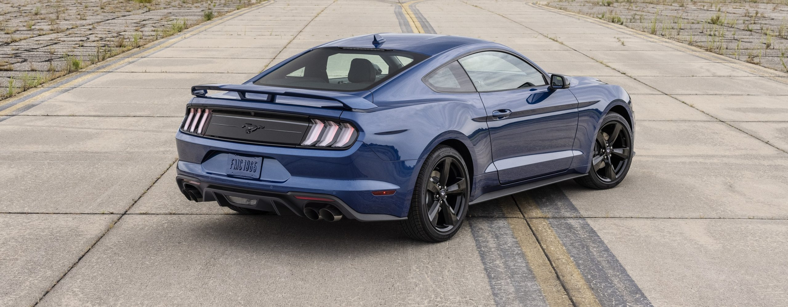 The rear of the 2021 Ford Mustang Stealth Edition, shot from the rear 3/4