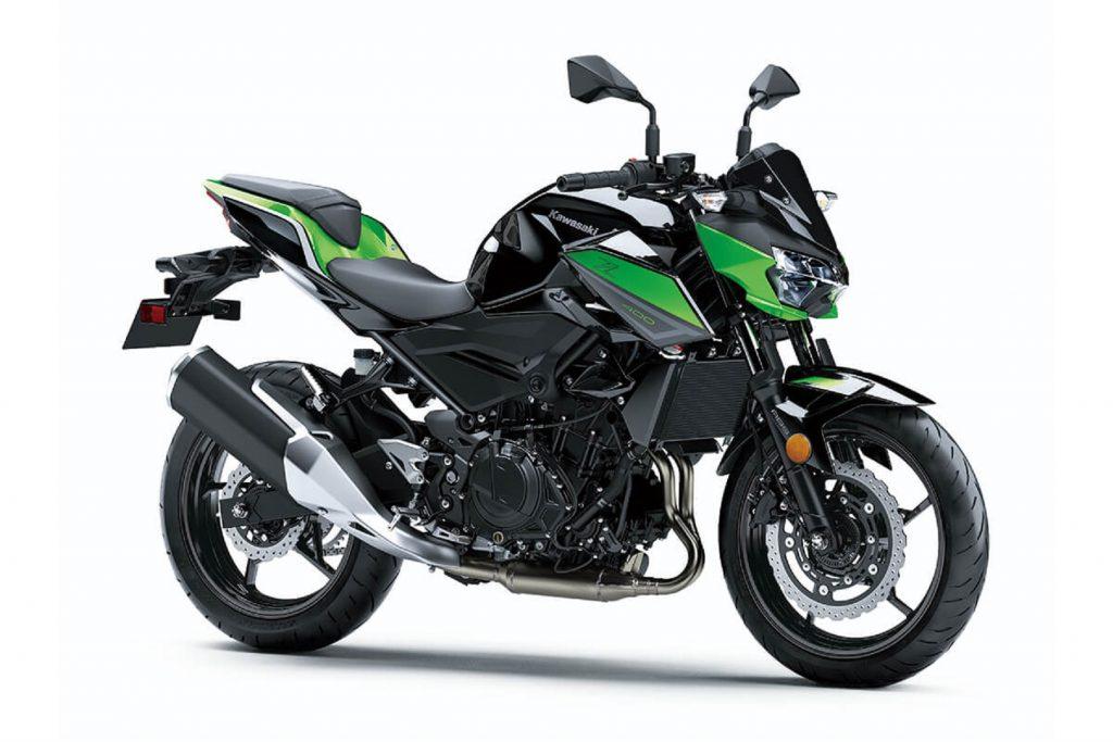 A black-and-green 2022 Kawasaki Z400 ABS