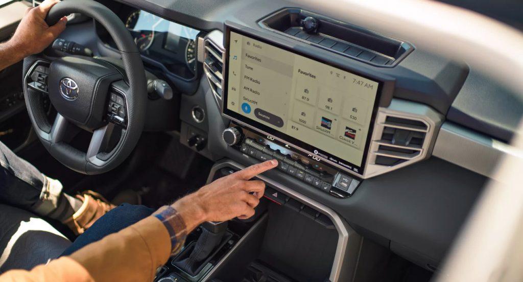 The interior of a 2022 Toyota Tundra.