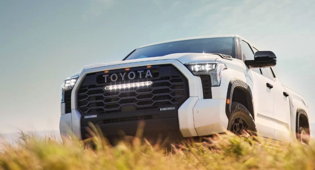 A white 2022 Toyota Tundra.