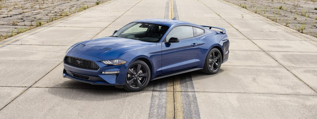 A blue 2022 Ford Mustang Stealth Edition