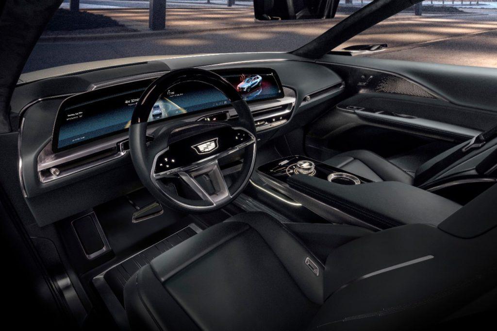 The black interior of a 2023 Cadillac LYRIQ electric SUV