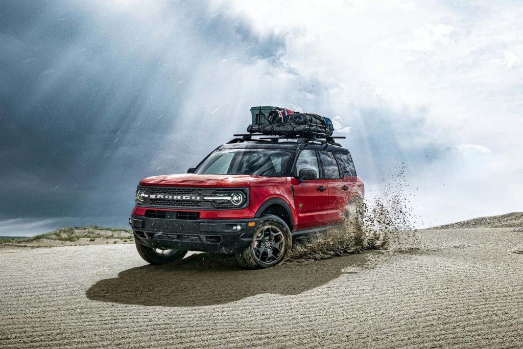 The 2021 Ford Bronco Sport Badlands kicking up sand