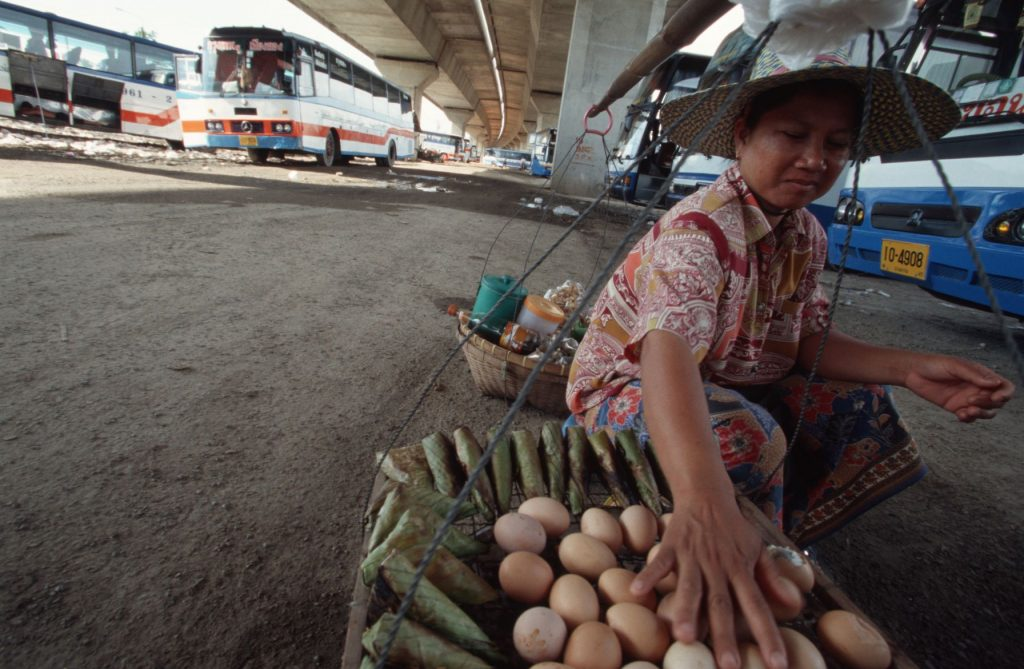 A women selling fruit below and expressway in Thailand