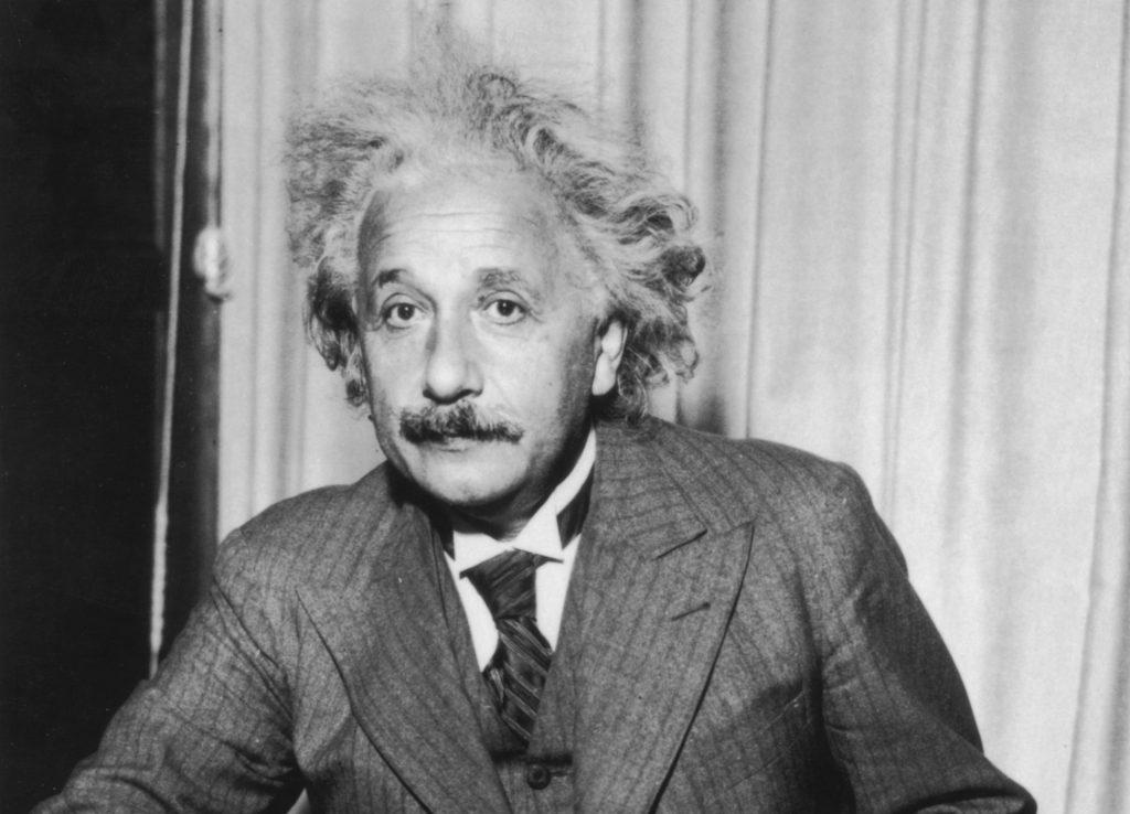 Albert Einstein in a suit and tie
