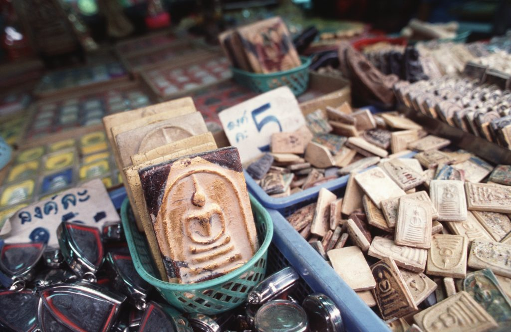 Amulets at a market in Thailand