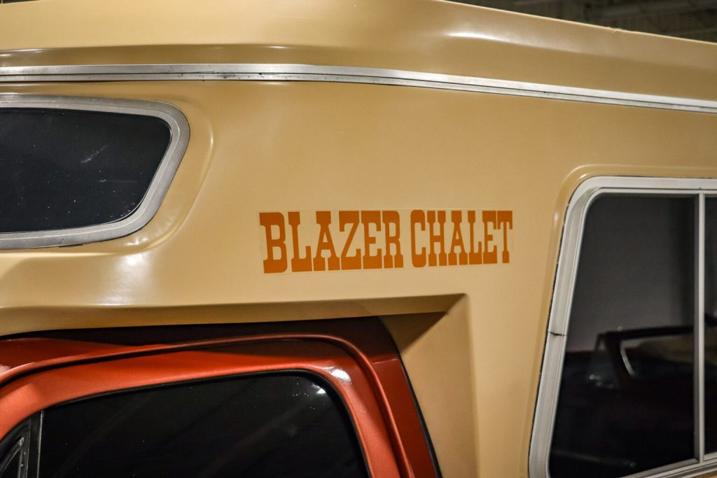upclose on the vinyl graphics for a 1977 Chevrolet Blazer Chalet is the king of the vintage campers