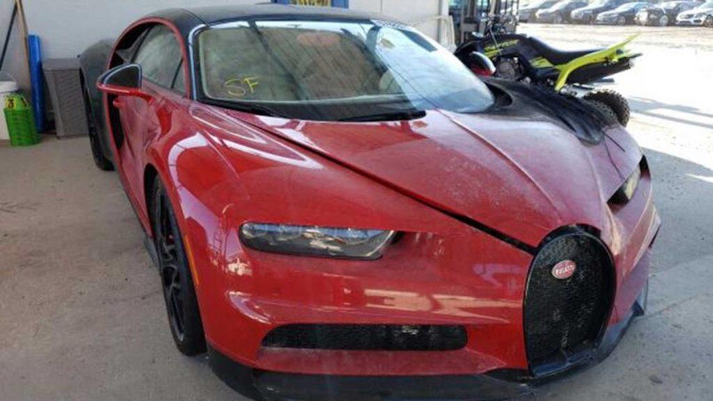 Red and black Bugatti that got burnt