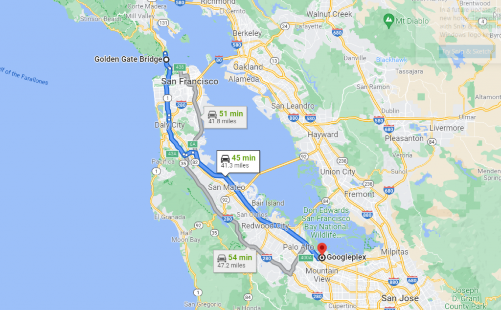 Directions from the Golden Gate bridge to Googleplex on Google Maps