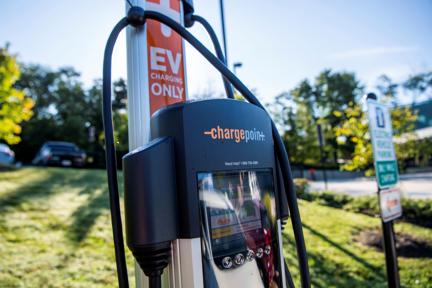 An EV ChargePoint charging station in New Carrollton, Maryland