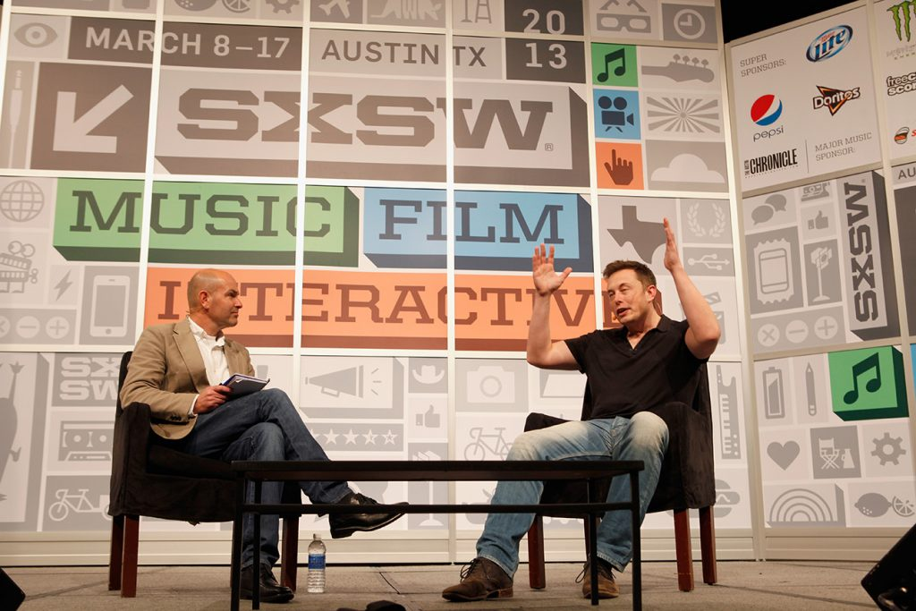 Elon Musk at south by southwest festival in austin texas. Musk recently announced that Tesla HQ is leaving California