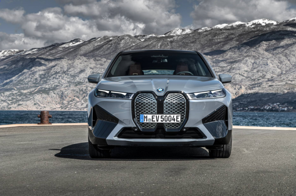 Face and grille of gray 2022 BMW iX