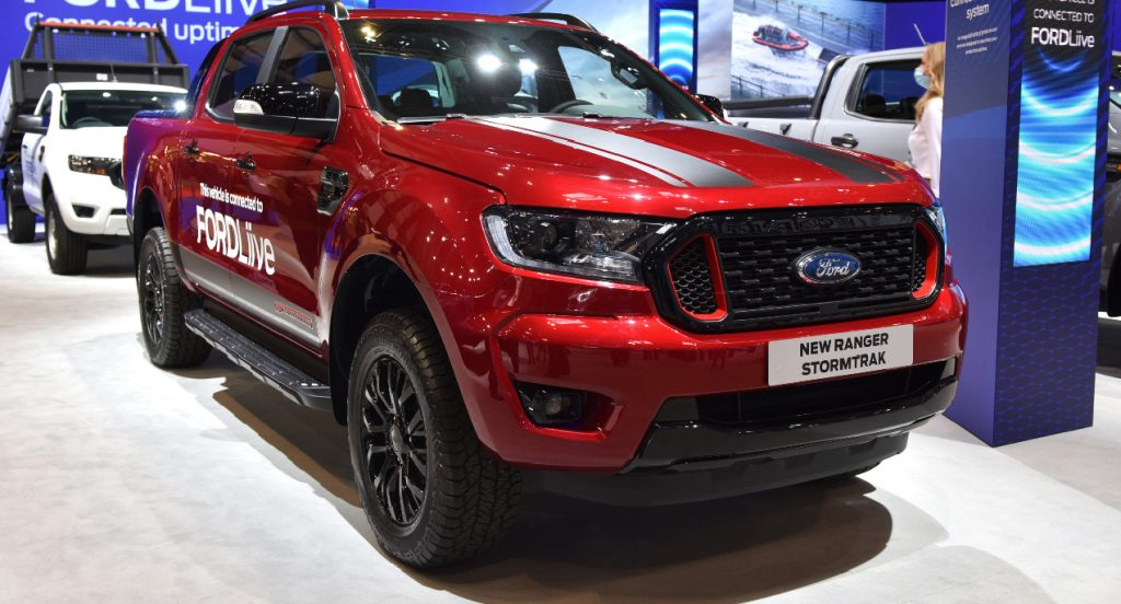 A red Ford Ranger which is connected to FordLive is displayed during the Commercial Vehicle Show at the NEC on September 02, 2021 in Birmingham, England.