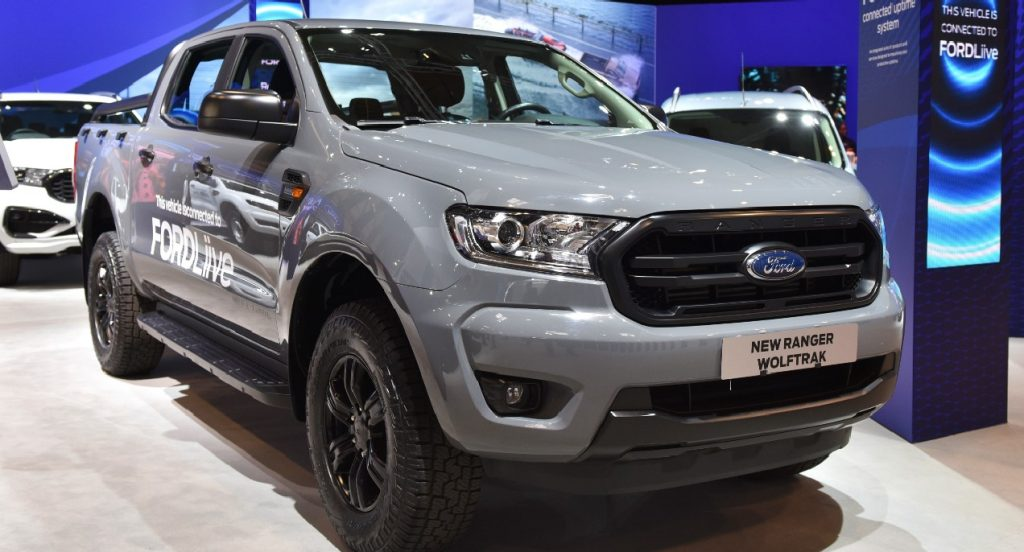 A gray Ford Ranger which is connected to FordLive is displayed during the Commercial Vehicle Show at the NEC on September 02, 2021 in Birmingham, England.