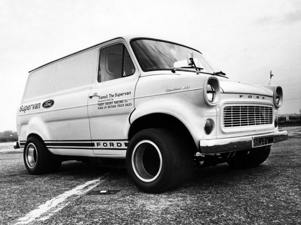 black and white photo of the original ford Supervan, which was basically just a Ford GT40