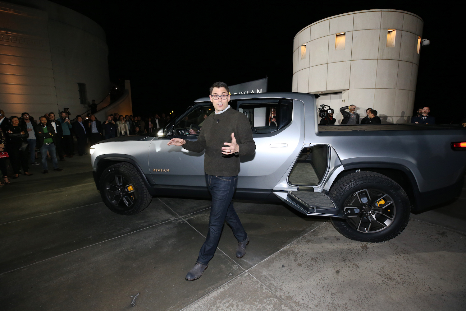 Rivian CEO RJ Scaringe attends and speaks at Rivian Unveils First-Ever Electric Adventure Vehicle Before Its Official Reveal At The LA Auto Show at Griffith Observatory   Phillip Faraone/Getty Images for Rivian