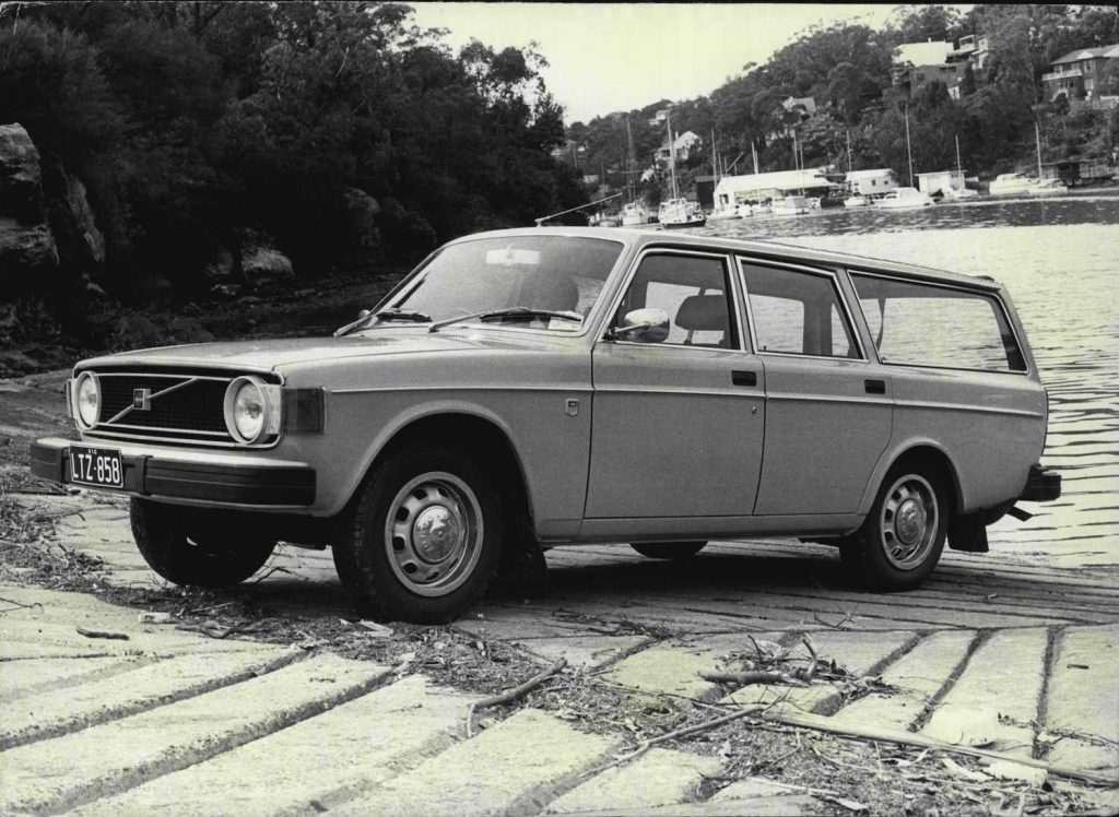 This is a black and white photo of a vintage Volvo station wagon. Volvo Stock Story: How It's Valuation Grew 10x in 10 Years   Rice/Fairfax Media via Getty Images