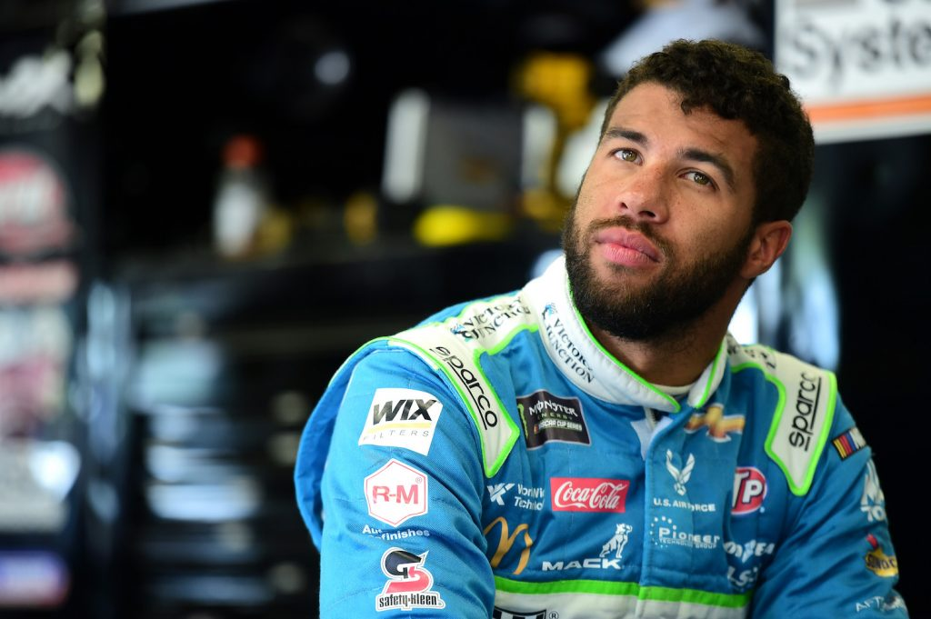 Bubba Wallace, driver of the #43 Victory Junction Chevrolet, looks on during practice for the Monster Energy NASCAR Cup Series Foxwoods Resort Casino 301 at New Hampshire Motor Speedway. Bubba Wallace has said he is excited about the NASCAR Next Gen cars   Jared C. Tilton/Getty Images