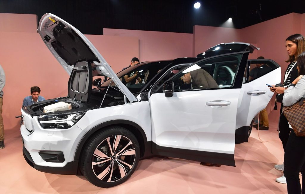 Volvo unveils the XC40 Recharge at an auto show. The Volvo IPO is rumored to set the Swedish manufacturer's valuation at $25 billion, as its parent company attempts to ride the electric manufacturer wave. | FREDERIC J. BROWN/AFP via Getty Images
