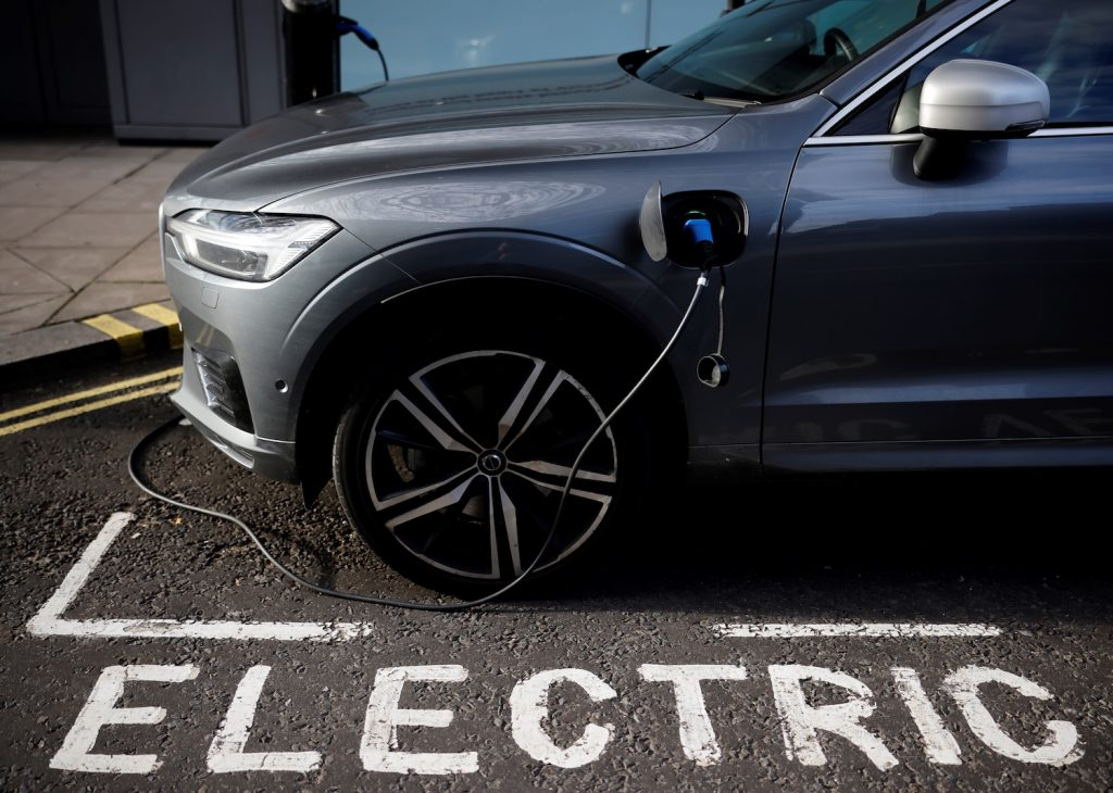 Electric Volvo charging in an electric vehicle only spot in Britain. The Volvo IPO is rumored to set the Swedish manufacturer's valuation at $25 billion, as its parent company attempts to ride the electric vehicle wave. | TOLGA AKMEN/AFP via Getty Images