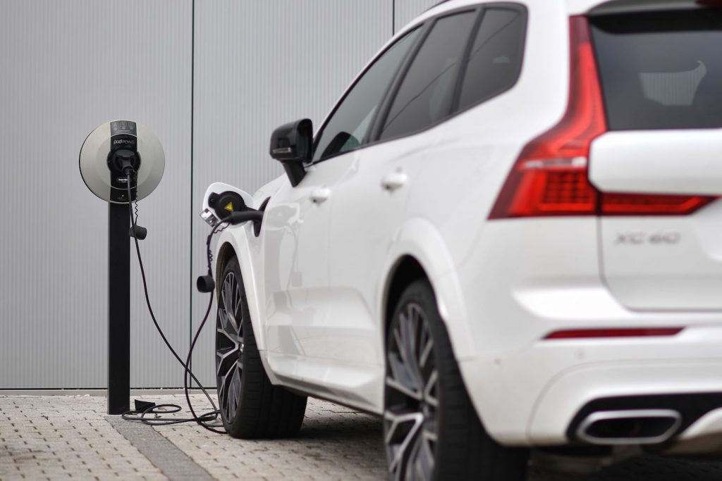 A Volvo XC60 hybrid car is seen plugged into a charging point outside a Volvo dealership in England. The Volvo IPO is rumored to set the Swedish manufacturer's valuation at $25 billion, as its parent company attempts to ride the electric manufacturer wave. | BEN STANSALL/AFP via Getty Images
