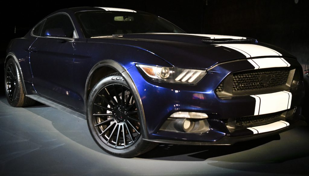 2016 Ford Mustang GT350 on display at the Fast Saga: F9 Fest event on the Universal Studios backlot. Jakob Toretto (John Cena) Drives Two Mustangs, including this one, in Fast and Furious 9.