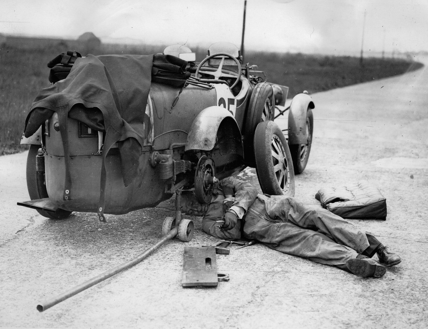 Lord Howe changing the rear wheel of his Bugatti car in 1930 while driving with Captain Malcolm Campbell during the Double Twelve Hour Race on the motor racing circuit Brooklands. United Kingdom. Slow leaks have always been an annoying problem, but you can use soap to find a slow tire leak or valve stem leak.   Imagno/Getty Images