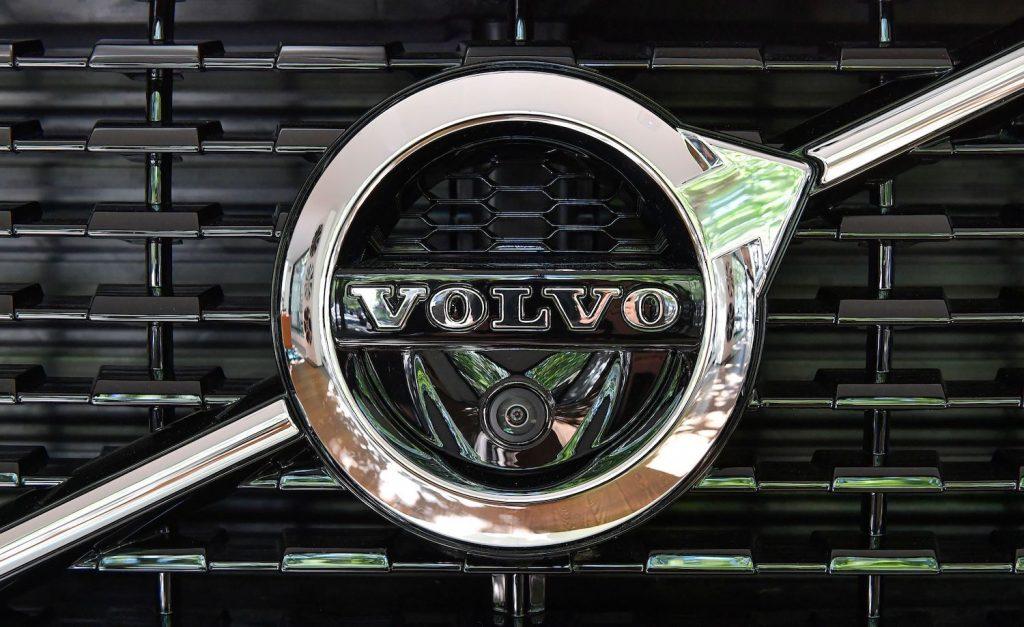 This is a photo of a logo on a Volvo XC 90 in a Stockholm Showroom. Volvo Stock Story: How It's Valuation Grew 10x in 10 Years.   JONAS EKSTROMER/TT NEWS AGENCY/AFP via Getty Images