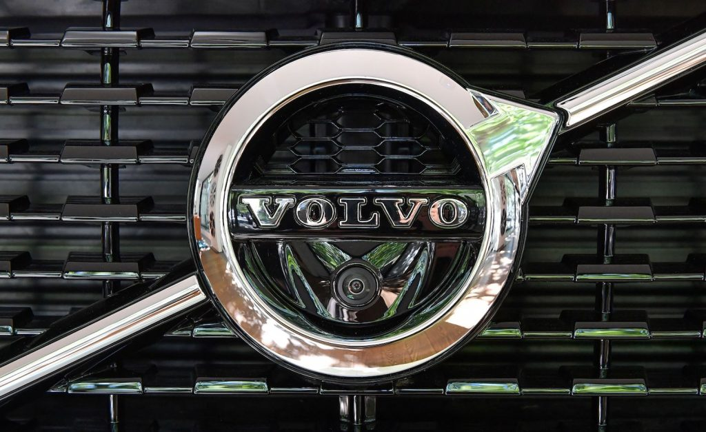 This is the Volvo Logo on and XC90 in a Volvo showroom. The Volvo IPO is rumored to set the Swedish manufacturer's valuation at $25 billion, as its parent company attempts to ride the electric vehicle wave. | JONAS EKSTROMER/TT NEWS AGENCY/AFP via Getty Images
