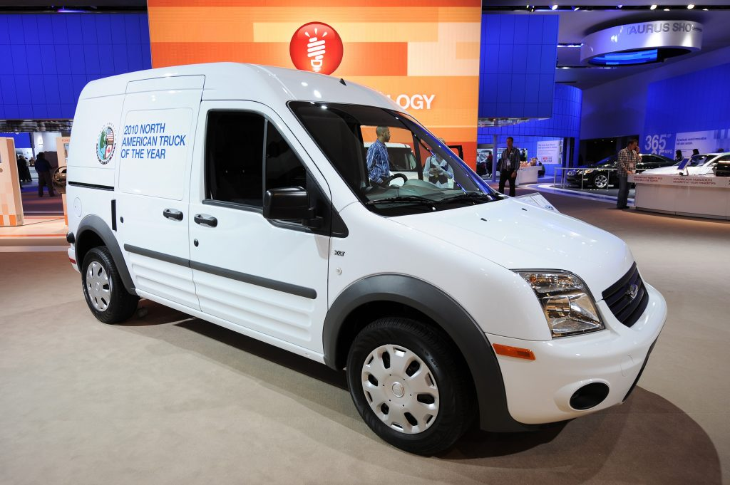 The Ford Transit Connect truck, the 2010 North American Truck of the Year, is displayed during the second press preview day