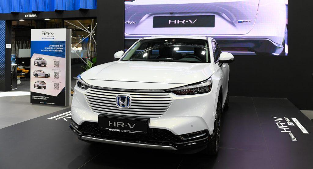 A white Honda HR-V is on display.