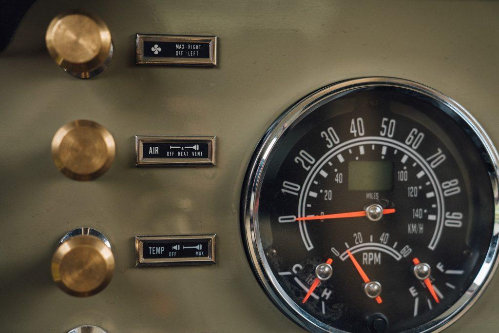 dash and gauges on vintage restomod Jeep CJ8