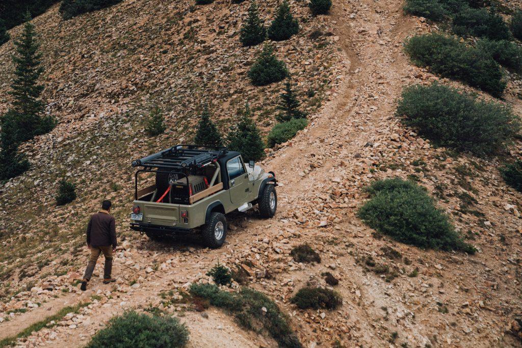 Vintage Jeep Cj8 on a trail