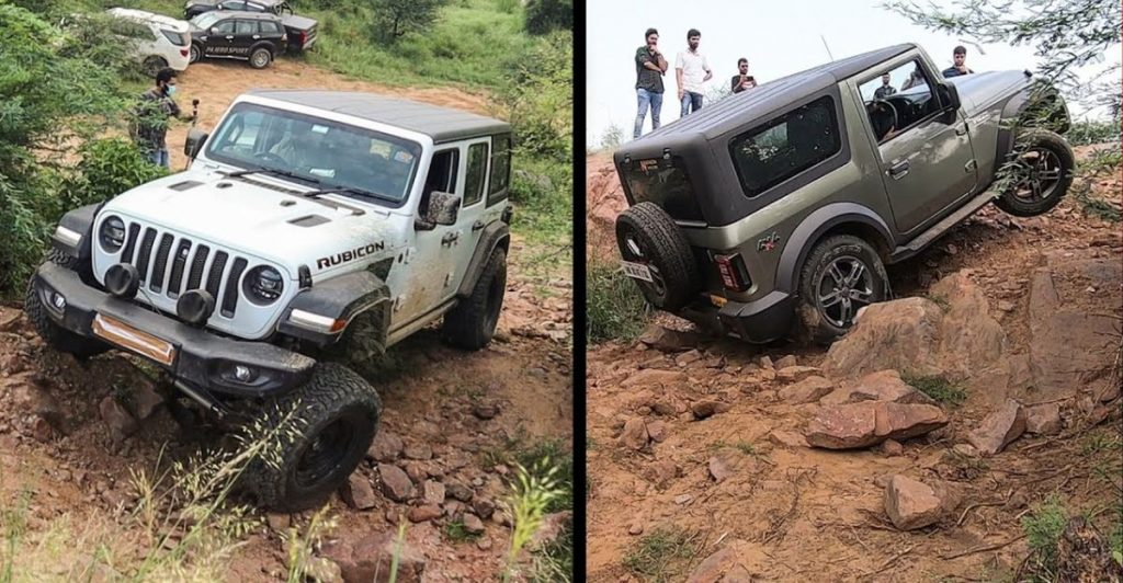 A Jeep Wrangler and a Mahindra Thar off-roading side by side. This is the same Mahindra that makes Mahindra tractors and nearly everythign else with a motor it seems.