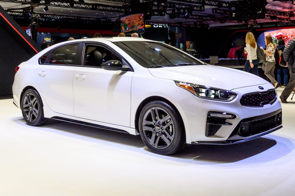 Kia Forte was seen at the New York International Auto Show at the Jacob K. Javits Convention Center in New York