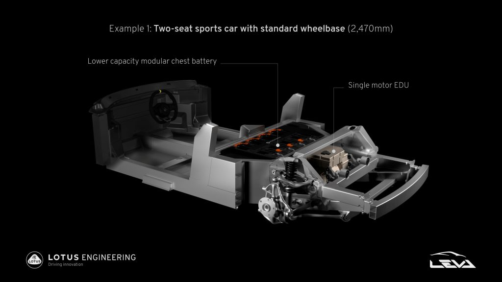 The rear subframe that forms the basis of the Lotus E-Sports electric car platform