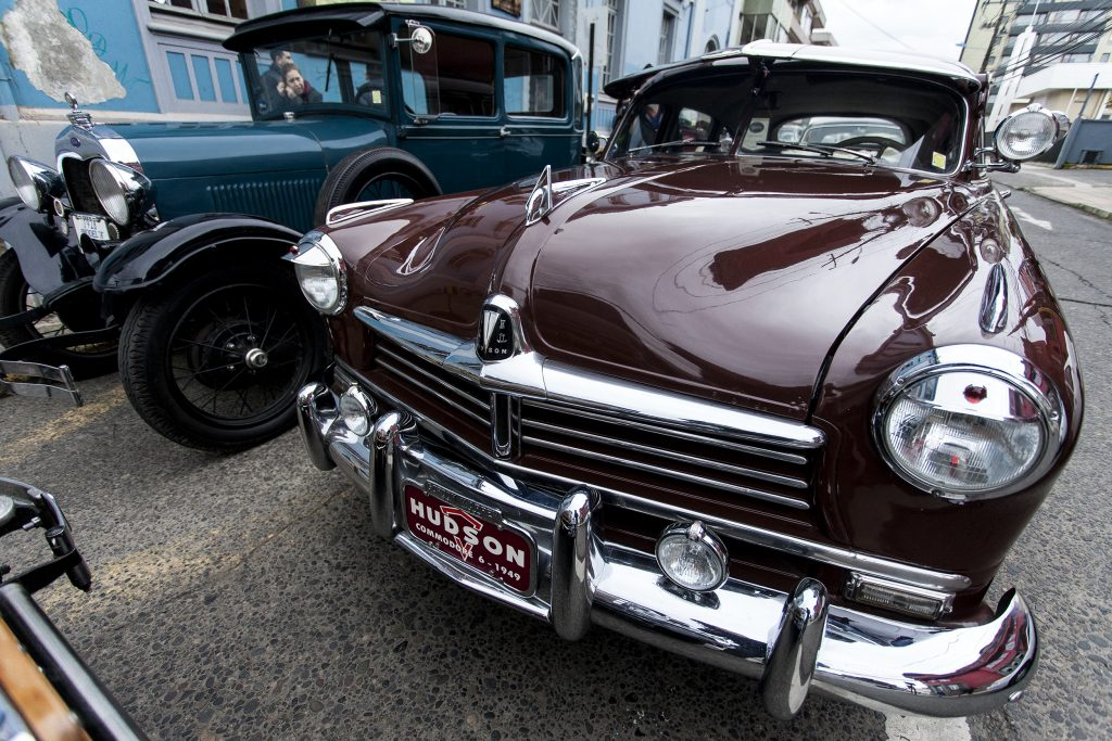 Front view of maroon 1949 Hudson Commodore