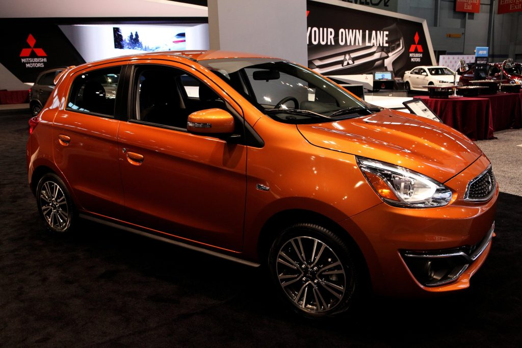 2017 Mitsubishi Mirage GT is on display at the 109th Annual Chicago Auto Show at McCormick Place in Chicago, Illinois on February 10, 2017.