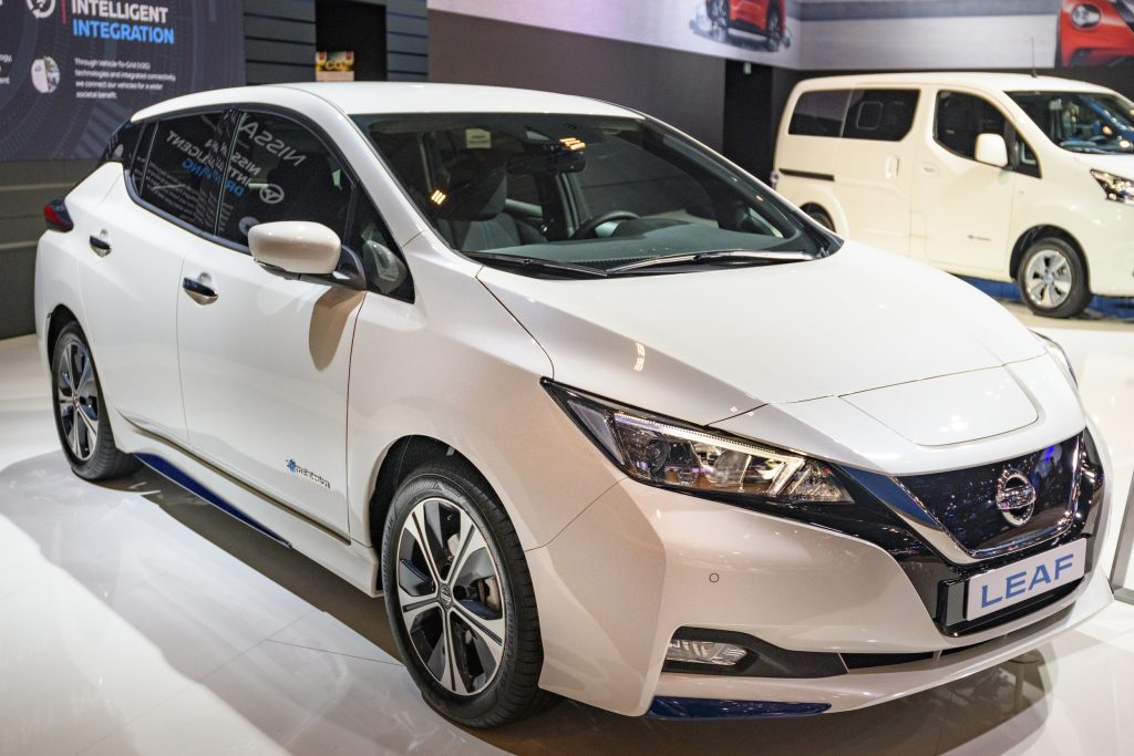 Nissan Leaf compact five-door hatchback battery electric vehicle on display at Brussels Expo on January 9, 2020 in Brussels, Belgium