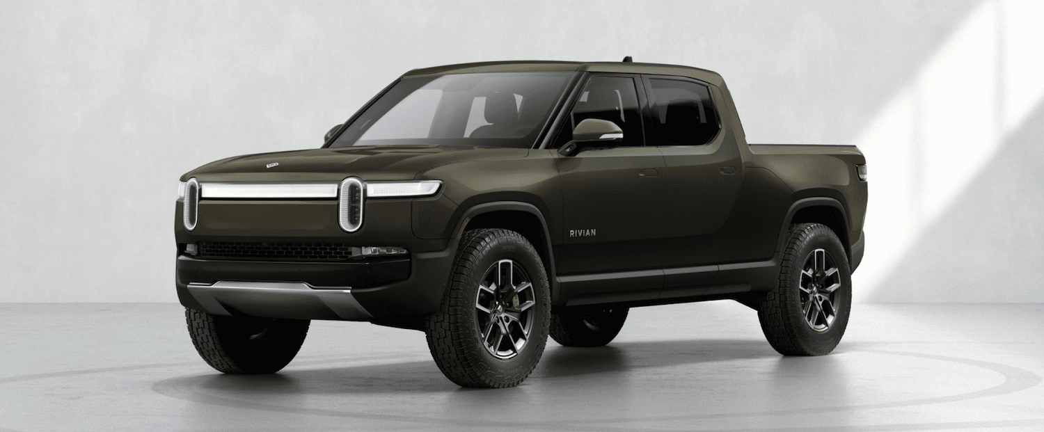 This is a configurator photo of the green 2022 Rivian R1T Launch Edition. Rivian Electric Truck Designed for Luxury, Not Overlanding, Despite Rivian Off Road Capabilities.   Rivian