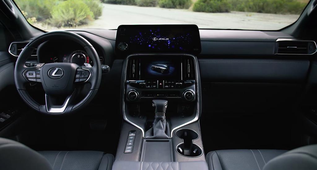 Steering wheel, gauges, and touchscreen in 2022 Lexus LX 600