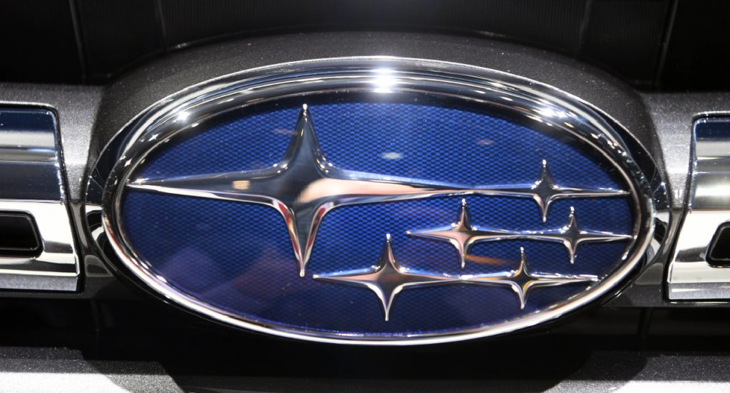 A Subaru logo, taken on the second press day. The 89th Geneva Motor Show starts on 7 March and lasts until 17 March.